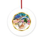 XmasMagic/ 2 Pomeranians Ornament (Round)