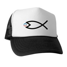 Jesus Fish Eats Obamessiah Trucker Hat
