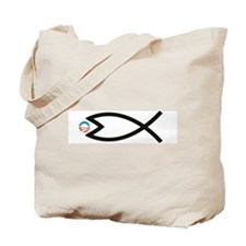 Jesus Fish Eats Obamessiah Tote Bag