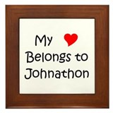 Cute My love (heart) belongs to johnathon Framed Tile