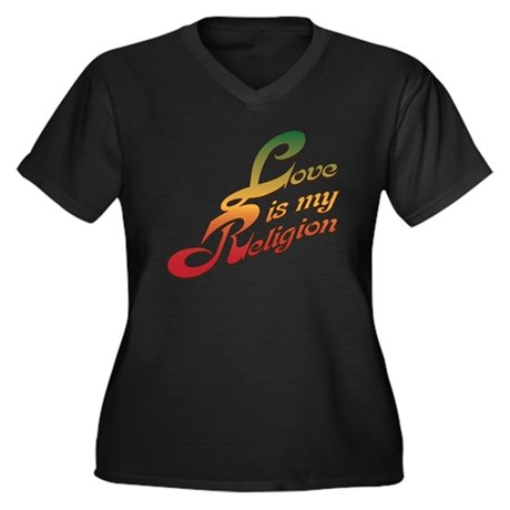 Love is My Religion Women's Plus Size V-Neck Dark