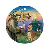 St Francis/ Shiba Inu Ornament (Round)