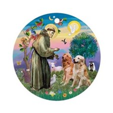 St Francis/ 2 Goldens Ornament (Round)