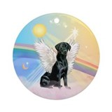 Clouds/ Lab-blk Angel Ornament (Round)