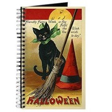 Halloween Black Cat, Broom and Hat Journal