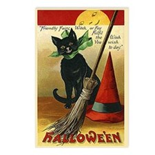 Halloween Black Cat, Broom and Hat Postcards (Pack