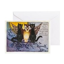 Halloween Wise Cats and Owl Greeting Card