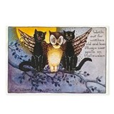 Halloween Wise Cats and Owl Postcards (Package of