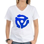 Blue 45 RPM Adapter Women's V-Neck T-Shirt