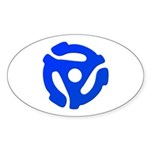 Blue 45 RPM Adapter Oval Sticker (10 pk)