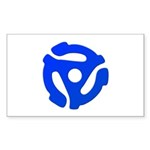 Blue 45 RPM Adapter Rectangle Sticker 10 pk)