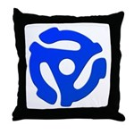 Blue 45 RPM Adapter Throw Pillow