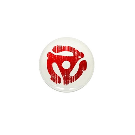 Distressed Red 45 RPM Adapter Mini Button