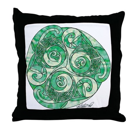 Celtic Green TriSpiral Throw Pillow