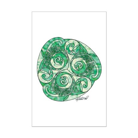 Celtic Green TriSpiral Mini Poster Print