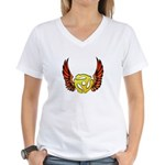 Red Winged 45 RPM Adapter Women's V-Neck T-Shirt