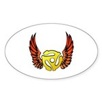 Red Winged 45 RPM Adapter Oval Sticker (50 pk)
