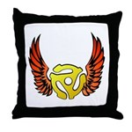 Red Winged 45 RPM Adapter Throw Pillow