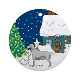 Christmas Lights Weimaraner Ornament (Round)