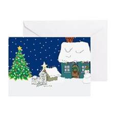 Christmas Lights Maltese Greeting Cards (Pk of 10)