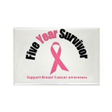 5 Year Breast Cancer Survivor Rectangle Magnet (10