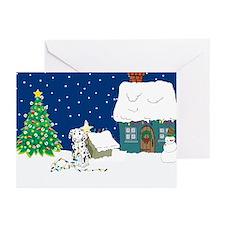 Christmas Lights Dalmation Greeting Cards (Pk of 2