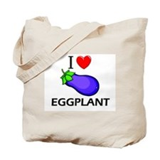 I Love Eggplant Tote Bag