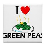 I Love Green Peas Tile Coaster