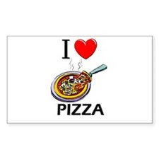 I Love Pizza Rectangle Decal