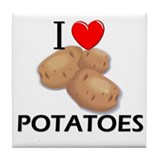I Love Potatoes Tile Coaster