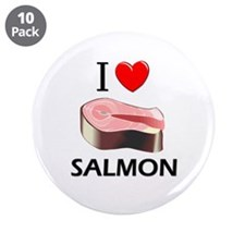 "I Love Salmon 3.5"" Button (10 pack)"