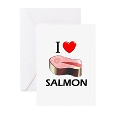I Love Salmon Greeting Cards (Pk of 10)