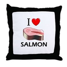 I Love Salmon Throw Pillow