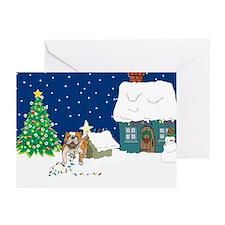 Christmas Lights Bulldog Greeting Cards (Pk of 10)
