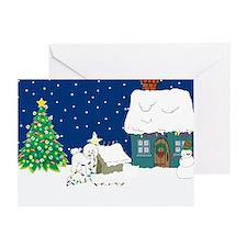 Christmas Lights Bichon Frise Greeting Cards (Pk o