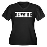 it is what it is Women's Plus Size V-Neck Dark T-S