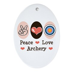 Peace Love Archery Oval Ornament
