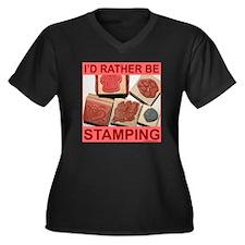STAMPING Women's Plus Size V-Neck Dark T-Shirt
