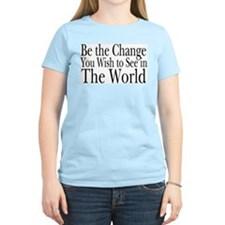 Be the Change (b&w) Women's Pink T-Shirt