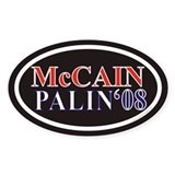 McCain Palin Euro Oval Sticker w/ Black Background