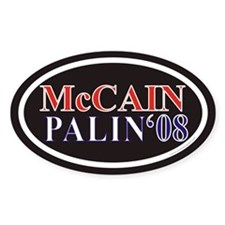 McCain Palin Euro Oval Sticker w/ Black Background