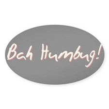 Black BAH HUMBUG! Christmas Package Oval Decal