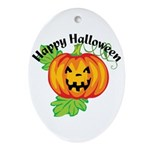 Happy Halloween Pumpkin Oval Ornament