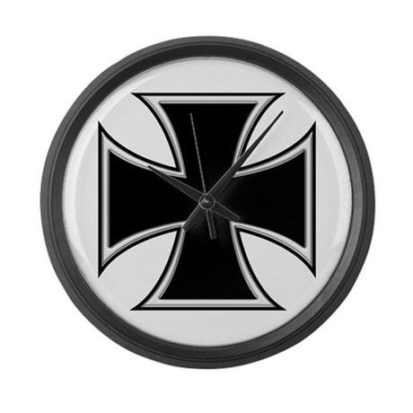 BIKER IRON CROSS Large Wall Clock