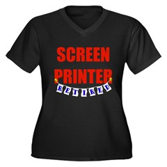 Retired Screen Printer Women's Plus Size V-Neck Da