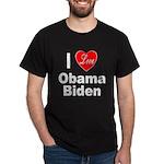 I Love Obama Biden (Front) Dark T-Shirt