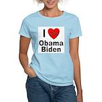 I Love Obama Biden (Front) Women's Light T-Shirt