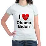 I Love Obama Biden (Front) Jr. Ringer T-Shirt