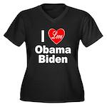 I Love Obama Biden (Front) Women's Plus Size V-Nec