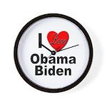 I Love Obama Biden Wall Clock